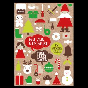 kerst verhuiskaart kraft papier symbolen klussen verhuizen feestdagen