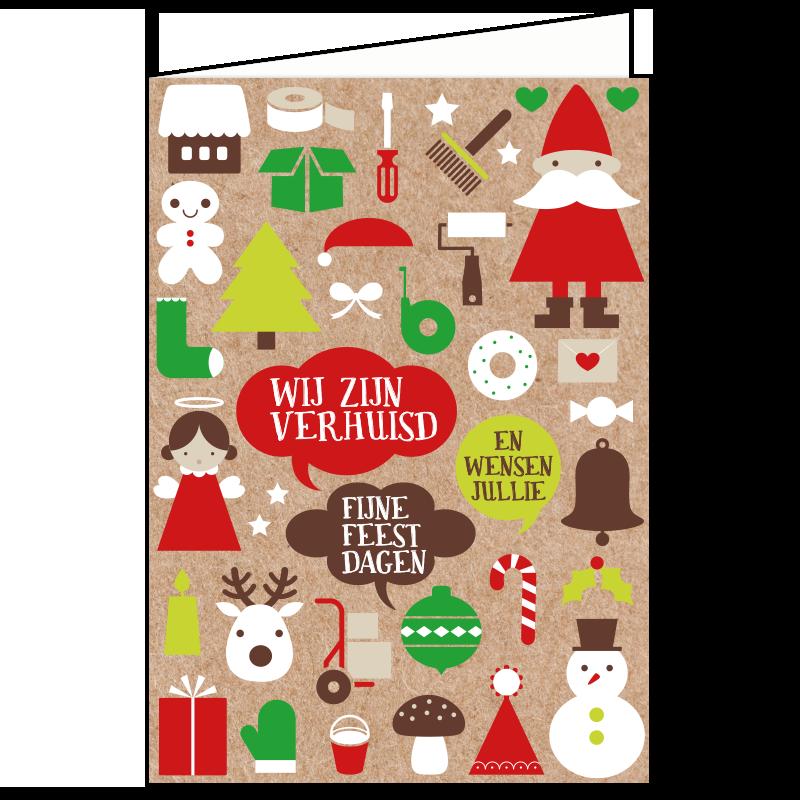 kerst verhuiskaart kraft symbolen klussen verhuizen feestdagen