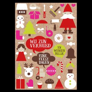 kerst verhuiskaart kraft papier ontwerp symbolen roze klussen verhuizen