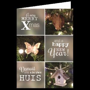 kerst verhuiskaart handlettering foto kerstboom verhuizen samenwonen