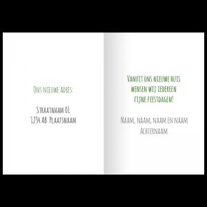 verhuis kerstkaart tekst voorbeeld idee opzet proef kleur ontwerp
