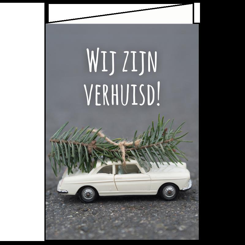 kerst verhuiskaart auto miniatuur mini kerstboom rustig grijs proef pdf goedkoop