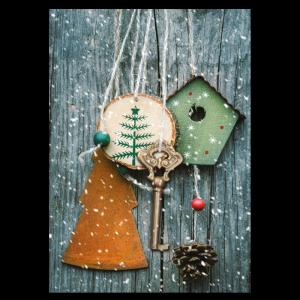 kerst verhuiskaart sleutel sneeuw huis decoratie goedkoop voorbeeld
