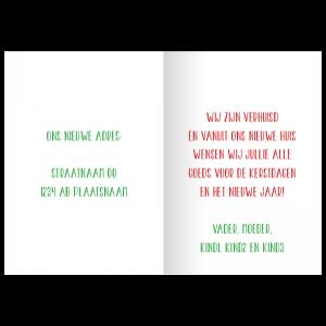 verhuis kerstkaart tekst binnenkant voorbeeld opzet idee kleur
