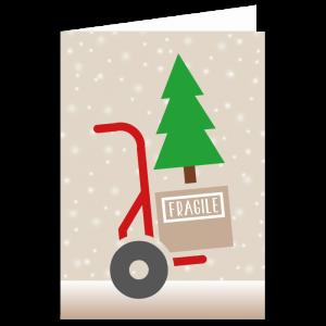 kerst verhuiskaart steekwagen verhuizen adres sneeuw kraft kerstboom verhuisdoos