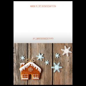 verhuis kerst kaart huisjes gingerbread snowflakes adreswijziging