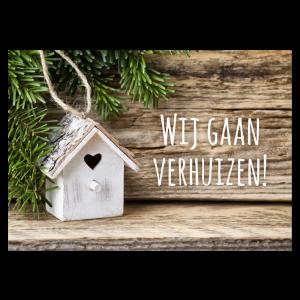 kerst verhuis kaart samenwonen hout naturel natuurlijk foto huisje