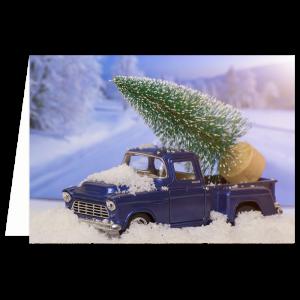 verhuis kerst kaart auto kerstboom truck pick up sneeuw winter blauw