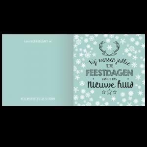 kerst verhuis kaart handletteren snowflakes wit zwart jade mint housewarming