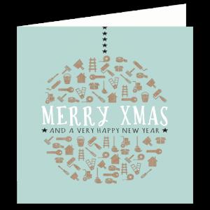 verhuizen kerst kaart klussen symbool kerstbal jade karton kraft