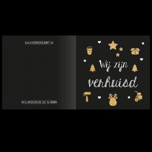 verhuis kerst kaart combi klussen iconen schoonmaken intrekken sleutel goud glitter handlettering hand letteren.
