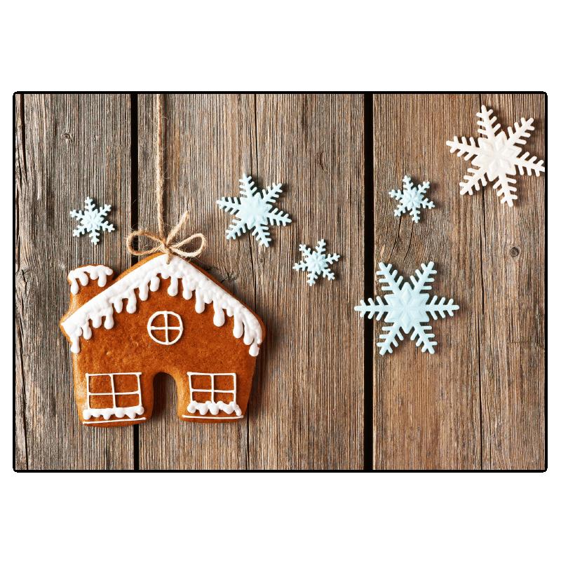 Kerst Verhuiskaart Gingerbread huis hout