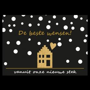 Kerst Verhuis Kaart nieuw huis sneeuw goud glitter