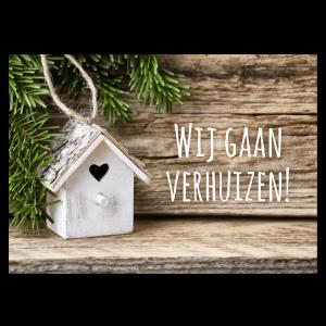 Kerst verhuiskaart kerstboom vogel huisje hartje decoratie hout