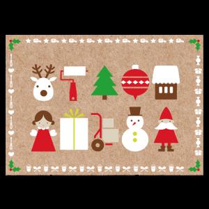 Kerst verhuiskaart kraft papier iconen illustratie klussen nieuw huis