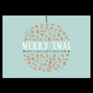 kerst verhuiskaart mint jade verhuizen klussen kerstbal wens