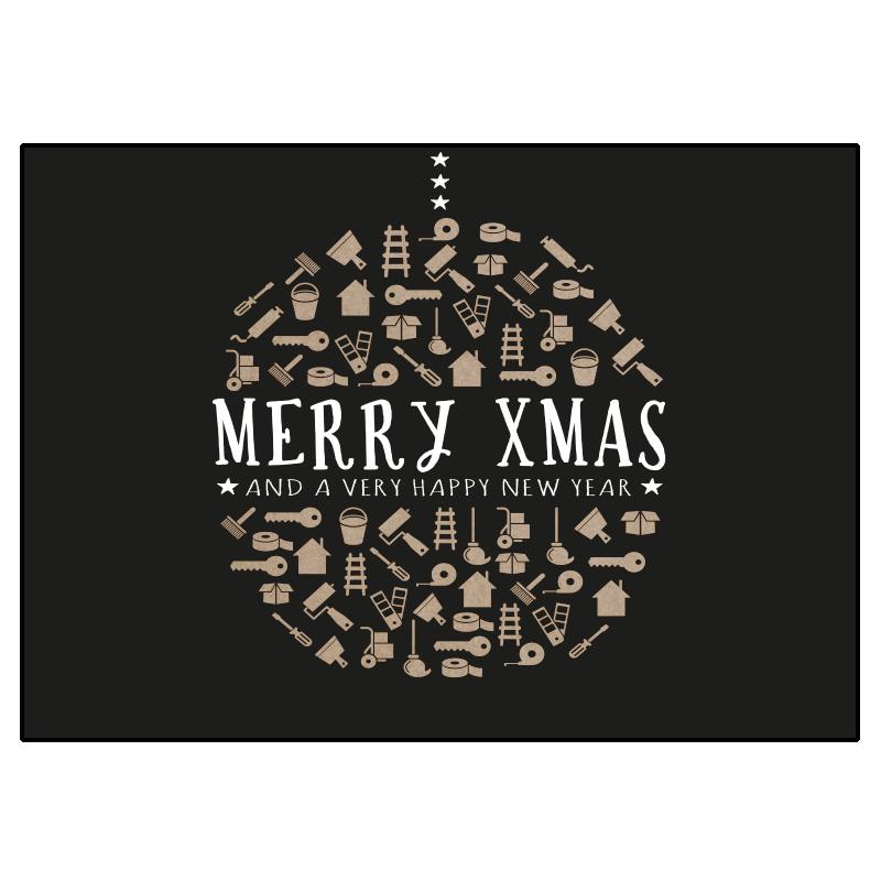 kerst verhuiskaart zwart karton kraft kerstbal klussen iconen symbolen verhuizen