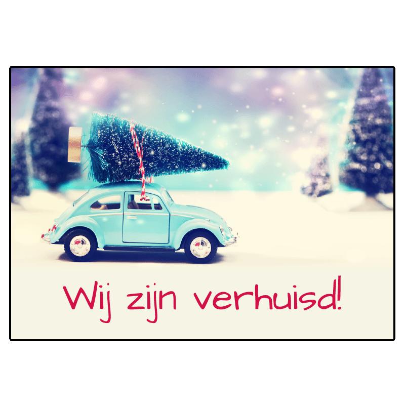 kerst verhuis kaart kever auto bug kerstboom verhuizen miniatuur schaalmodel tekst aanpassen