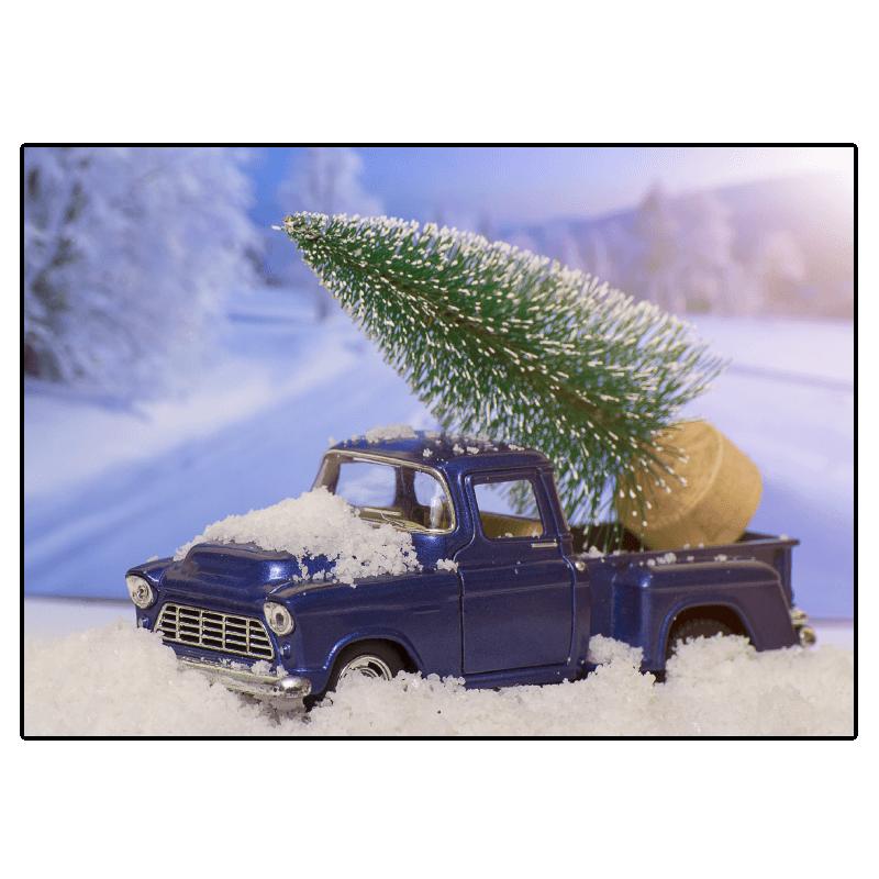 kerst verhuiskaart pick-up truck kerstboom miniatuur sneeuw stoer
