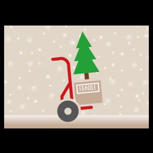 kerst verhuiskaart sneeuw steekwagen kerstboom illustratie verhuizen kraft
