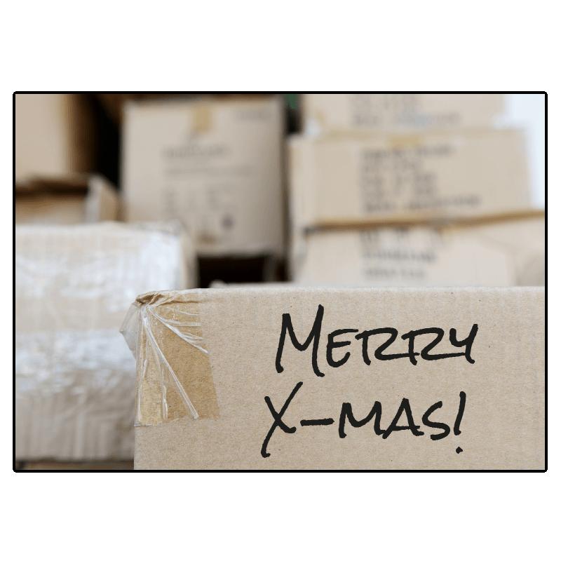 kerst verhuiskaart verhuisdozen uitpakken inpakken dozen merry xmas