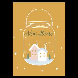 kerst verhuis kaart sneeuwbol snowglobe mason Jar oker geel