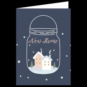 kerst verhuis kaart sneeuwbol snowglobe mason Jar Navy blauw