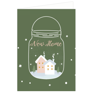 kerst verhuis kaart sneeuwbol snowglobe mason Jar Navy groen