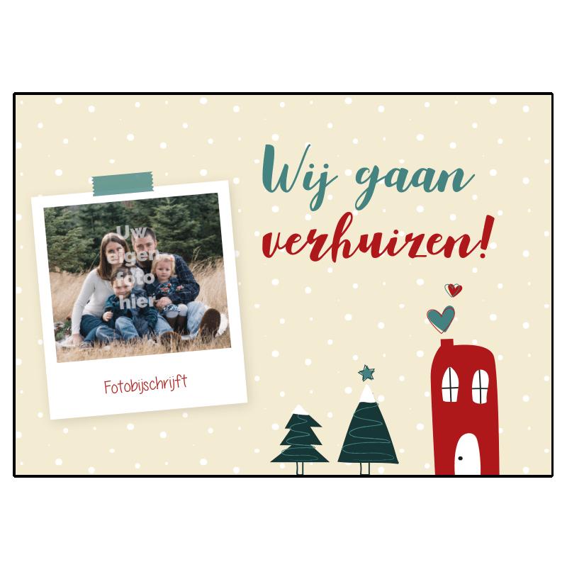 Kerst Verhuis kaart foto eigen personaliseren samenwonen liefde