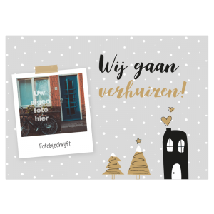 fotokaart eigen foto kerst verhuiskaart verhuisbericht ansichtkaart