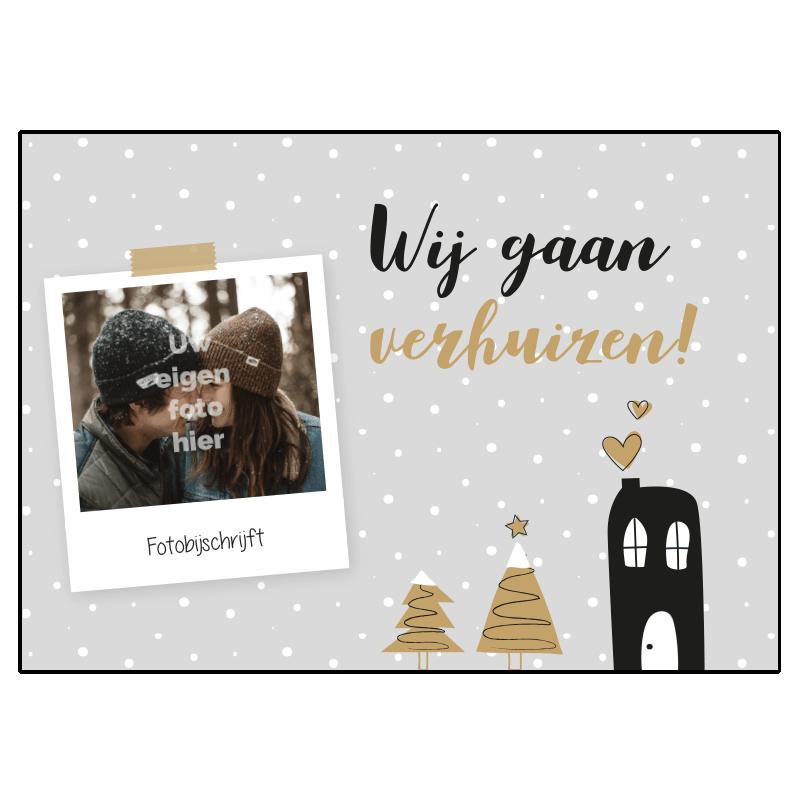 Kerst verhuiskaart samenwonen verliefd trouwen foto eigen kerstboom huis hartje