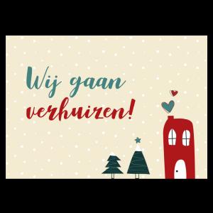 Kerst verhuiskaart samenwonen trouwen huisje liefde bomen