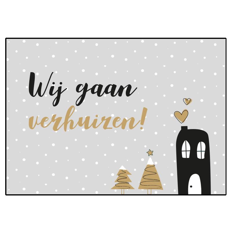 kerst verhuisbericht combi grijs kraft rust liefde samenwonen