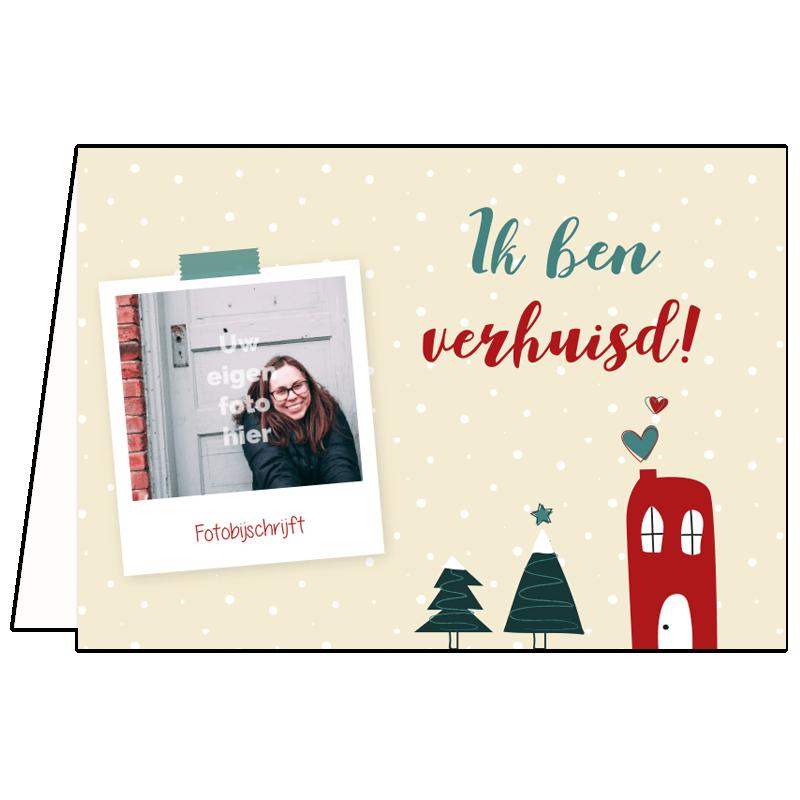 Verhuis kerstkaart eigen foto single vrijgezel tekst voorbeeld alleenstaand