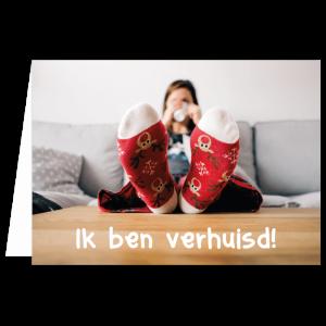 kerst verhuiskaart sokken klaar koffie thee gelukt single vrijgezel