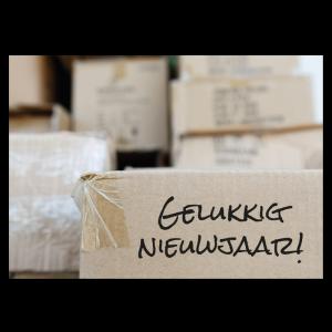 nieuwjaar verhuiskaart verhuisdozen uitpakken inpakken dozen merry xmas