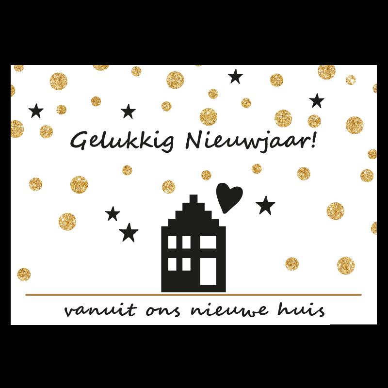 Nieuwjaars Verhuiskaart huis sneeuw goud glitter hartje zwart-wit sterren vuurwerk