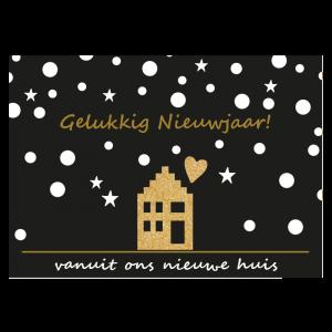 Nieuw jaar nieuwjaar Verhuis Kaart nieuw huis sneeuw goud glitter verhuizen nieuw huis sterren vuurwerk