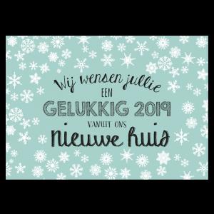 Nieuwjaars Verhuiskaart handlettering jade mint early dew
