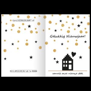 nieuwjaars verhuiskaart gouden glitters feest huisje