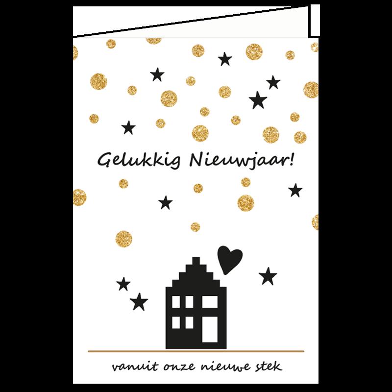 nieuwjaars verhuiskaart sterren glitter goud vuurwerk kaartje sturen