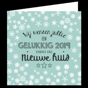 nieuwjaar verhuiskaart vanuit nieuwe huis snowflakes ijskristallen jade mint early Dew