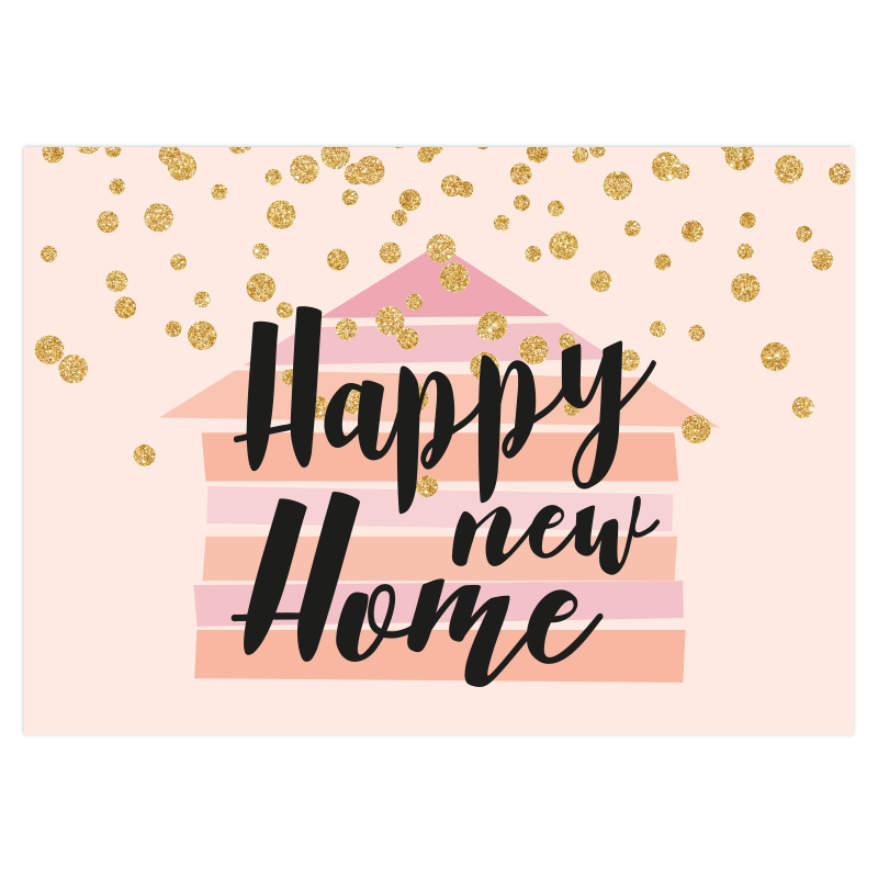 Nieuwjaars verhuiskaart roze goud glitters new home verhuizing sleutel nieuwe jaar