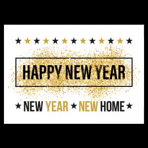 happy new year new home sterren glitters goud verhuiskaart