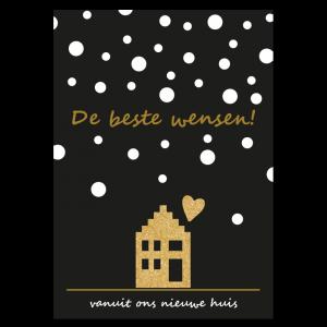 Kerst verhuiskaart huis sneeuw goud glitter zwart ontwerp design